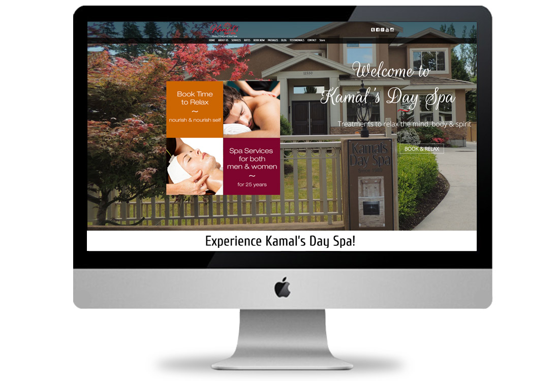 Website for Kamal's Day Spa
